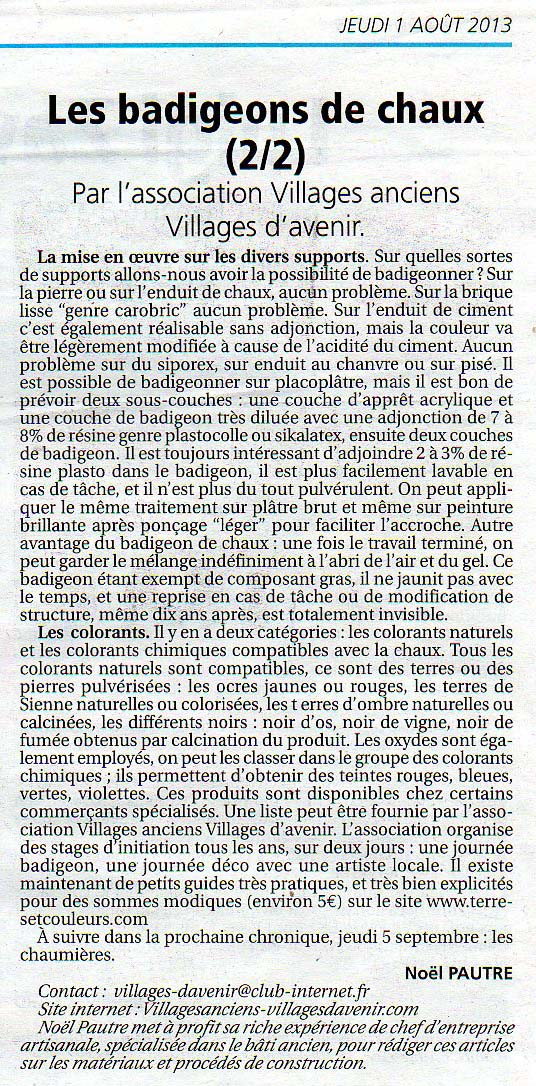 Articlesdepresse for Badigeons de chaux interieur